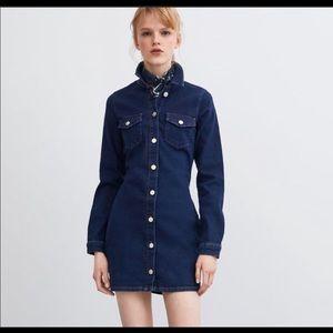 Zara denim blue dress large NWT